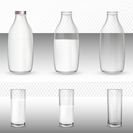 Realistic glasses and bottles with a milk. Realistic transparent glass dishes for milk, yogurt, dairy sour cream, kefir, protein cocktail. Mockup of farm product.