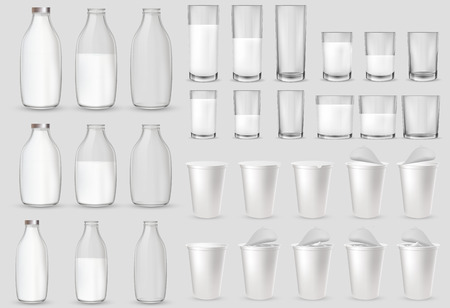 Realistic transparent glass glasses, bottle, plastic packages and cups for milk, yogurt, dairy sour cream, kefir, protein cocktail. Plastic cup with foil lid, cap. Mockup of farm product.