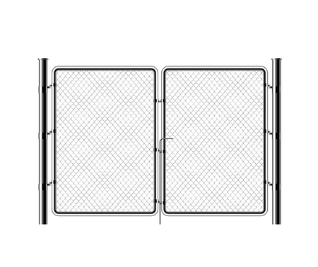Realistic metal chain link fence. Rabitz. Art design gate. Cemetery fence, hedge, prison barrier, secured property. The chain link of hedge wire mesh steel metal.
