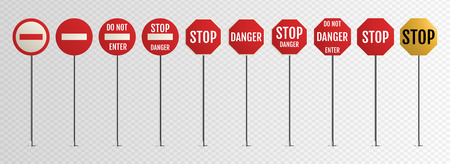 Traffic signs. Blank warning, danger, way destination and stop city signage on metal steel pole isolated vector set 向量圖像