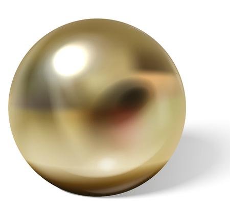 Kupfer- oder Messingkugel mit Schatten von unten realistischem Vektor lokalisiert auf weißem Hintergrund. Glänzende, metallische Kugel mit Reflexionen auf Chrom oder matter Oberfläche 3D-Darstellung
