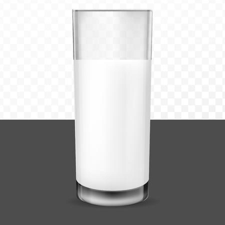 Realistic transparent glass glasses for milk, dairy product, yogurt, kefir, protein cocktail. Print, template, design element Vector Illustratie