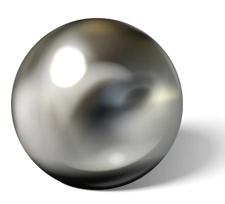 Kulka srebrna lub stalowa na białym tle. Kulista kula 3D z odblaskami i pasemkami do dekoracji. Kamień jubilerski. Ilustracja wektorowa.