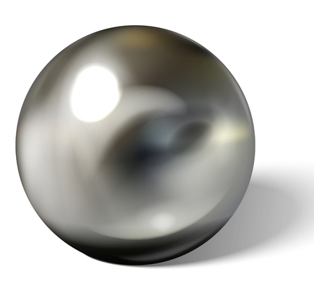 Silver or steel ball isolated on white background. Spherical 3D sphere with glares and highlights for decoration. Jewellery gemstone. Vector Illustration.