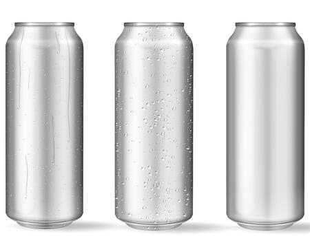 Lattine di alluminio realistiche con gocce d'acqua. Lattine metalliche per birra, soda, limonata, succo, bevanda energetica. Mockup di vettore, vuoto con spazio di copia.