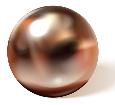 Copper or brass ball with shadows from below realistic vector isolated on white background. Shiny, metallic sphere with reflections on chrome or matt surface 3d illustration