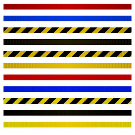 Set of belts for metal barriers to control. Kit of warning belts. Vector illustration.