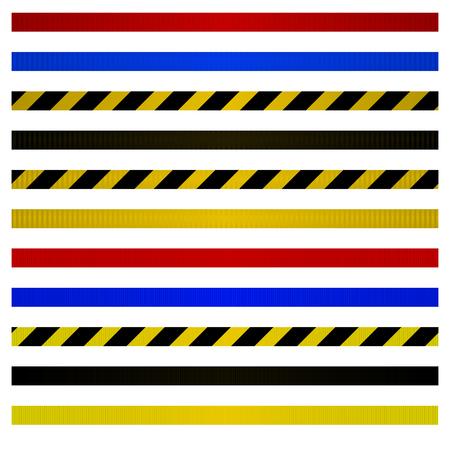 Set of belts for metal barriers to control. Kit of warning belts. Vector illustration.