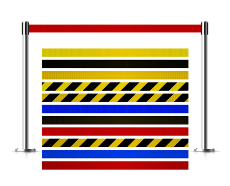 Metal barrier with a belt to control. Kit of belts. Queue stock illustration isolated on white background.