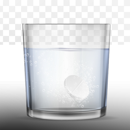 Realistic effervescent tablet in glass of water. Vector realistic effervescent pill with bubbles dissolving in glass of water. Ilustração