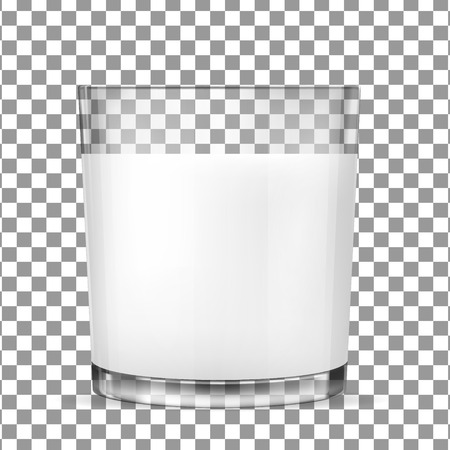Realistic transparent glass glasses for milk, dairy product, yogurt, kefir, protein cocktail. Print, template, design element