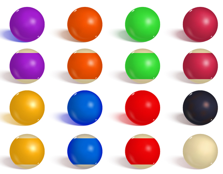 Billiard, pool balls collection. Snooker. Reverse, empty, side  realistic balls on white background. Vector illustration. Çizim