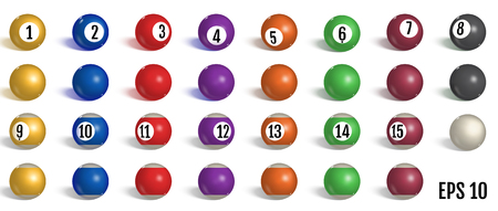 Billiard, pool balls collection. Snooker. Realistic balls on white background. Vector illustration. Ilustração
