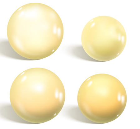 Collection of white glossy spheres isolated on white. Realistic gradient mesh. Vector illustration for your design.