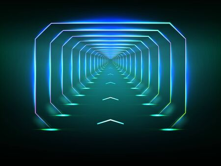 Endless tunnel optical illusion, spaceship corridor, science fiction rocket launching runway or teleport illuminating fluorescent neon light realistic. Abstract futuristic background with light effect Vector Illustration