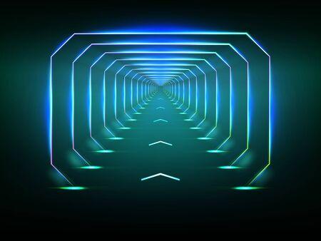 Illusion d'optique de tunnel sans fin, couloir de vaisseau spatial, piste de lancement de fusée de science-fiction ou téléportation illuminant un néon fluorescent réaliste. Abstrait futuriste avec effet de lumière Vecteurs
