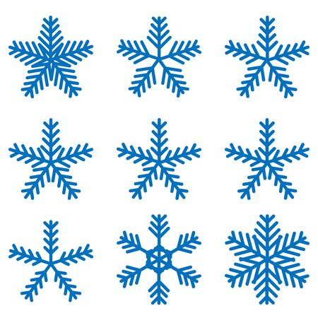 Snowflake icons kit. Set of vector snowflakes. Flat icons.