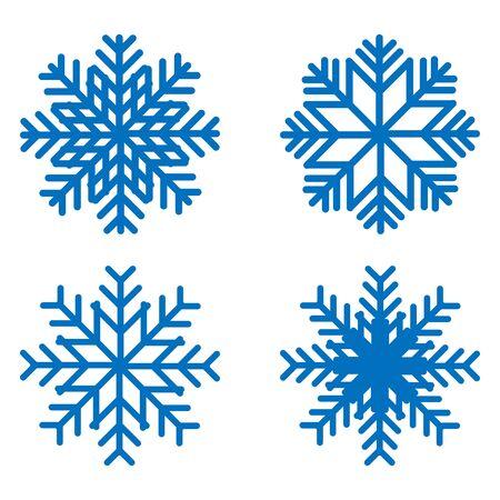 Kit de iconos de copo de nieve. Conjunto de copos de nieve de vector. Iconos planos. Ilustración de vector