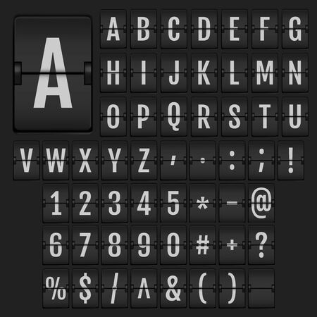 Realistic 3d flip alphabet and numbers. Universal analog boards font on dark background. Vector terminal flip board font for flight destination and timetable.