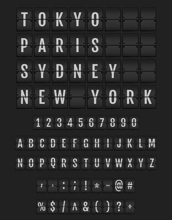 Set di lettere su un orario meccanico. Carattere di schede analogiche universali su sfondo scuro. Carattere della lavagna a fogli mobili del terminale vettoriale per destinazione e orario del volo. Vettoriali