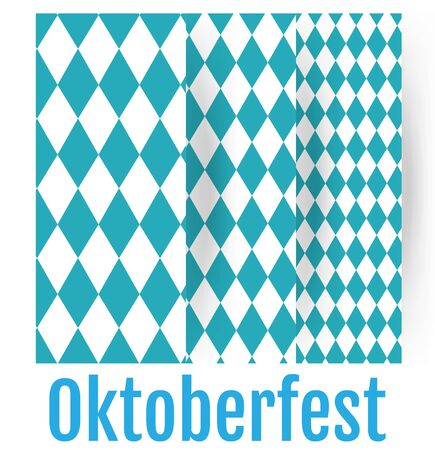 Set of Oktoberfest patterns. October Munich fest traditional  background. Rhomb blue ornament.