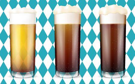 Modern Oktoberfest Concept. Set of realistic beer glasses. Vector illustration  イラスト・ベクター素材