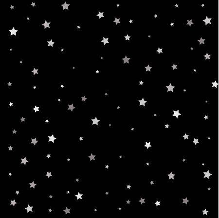 Décoration abstraite d'étoiles argentées tombantes pour une fête, un anniversaire, un anniversaire ou un événement, festif. Illustration vectorielle.