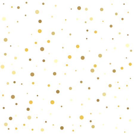 Abstract pattern of random falling gold dots. Template for holiday designs, invitation, party, birthday, wedding.