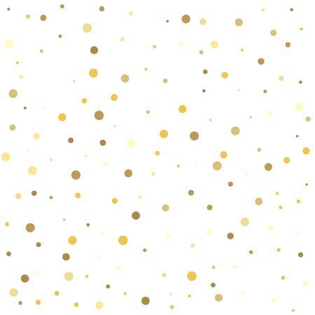 Motif abstrait de points d'or tombant au hasard. Modèle pour les conceptions de vacances, invitation, fête, anniversaire, mariage.