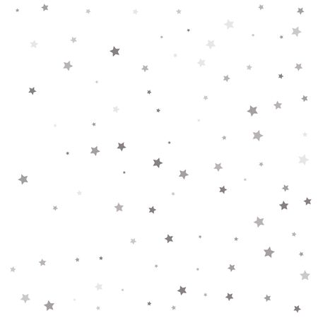 Abstract pattern of random falling silver stars. Christmas and New Year card, invitation, postcard, paper packaging.  イラスト・ベクター素材