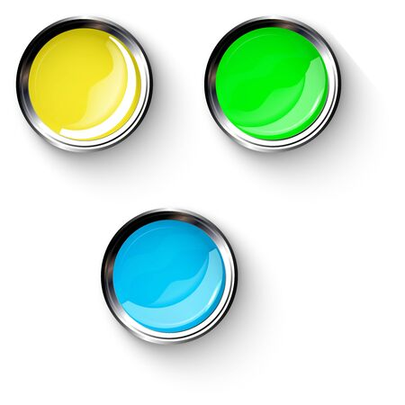 Blue, green, yellow shiny buttons with metallic elements, vector design for website.