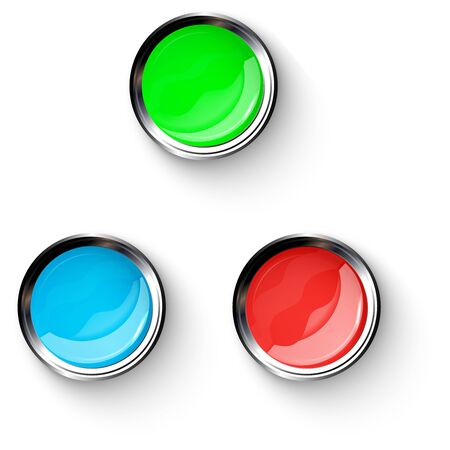 Red, blue, green, shiny buttons with metallic elements, vector design for website.