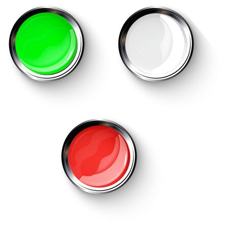 Red, white, green, shiny buttons with metallic elements, vector design for website.
