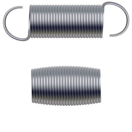 Realistic metal springs and machine absorbers set  イラスト・ベクター素材