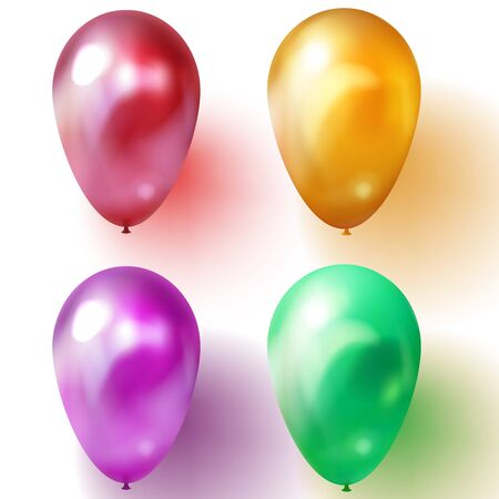 Green, purple or violet, gold and red balloon