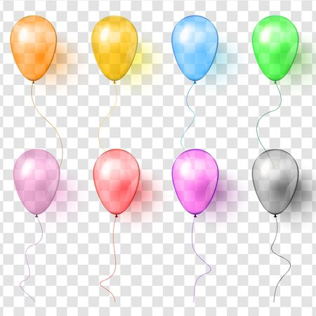Set of realistic vector transparent colorful balloons. Ilustrace