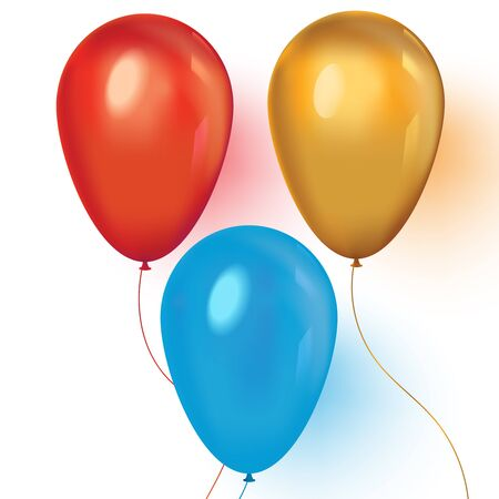 Red, blue and gold realistic balloons on white background Ilustrace