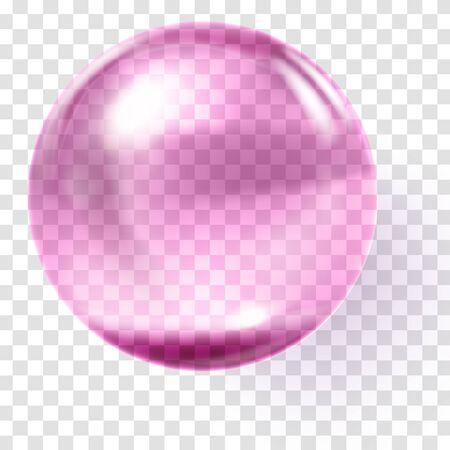 Palla di vetro rosa realistica. Sfera rosa trasparente Vettoriali
