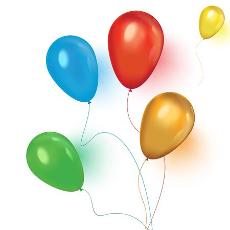 Realistic balloons. An illustration of a set of colourful birthday or party balloons