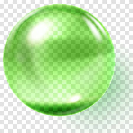 Realistic green glass ball. Transparent green sphere. Glass bead. Realistic bubble. Vector illustration