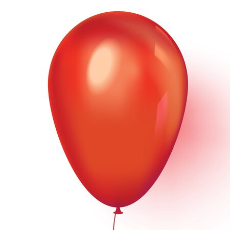 Realistic red balloon isolated on white background. Vector illustration.