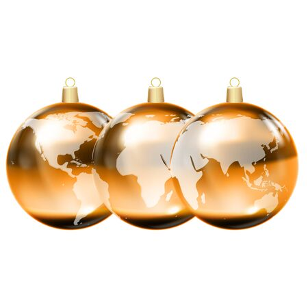 Gold christmas balls with world maps. Earth globe 3D icon, glossy planet, realistic vector illustration.