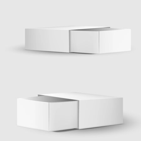 Blank paper or cardboard box template on white.