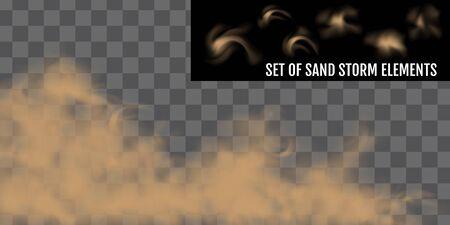 Tempête de poussière ou de sable réaliste. Ensemble d'éléments de tempête de sable. Vecteurs