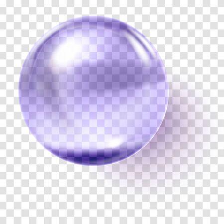 Realistic violet glass ball. Transparent violet sphere