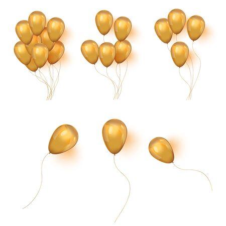 Vector realistic helium golden birthday bunch of ballons.