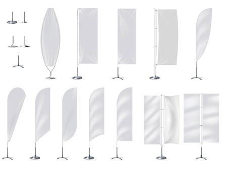 Realistic banner flag 3d mockup on white backdrop.