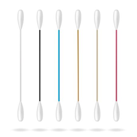 Cotton swabs for ears. Realistic cotton ear swab set. Vector illustration.
