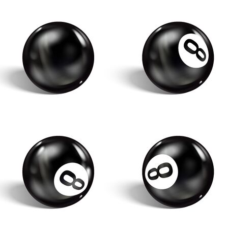 Set of realistic 8 ball. Isolated on a white background