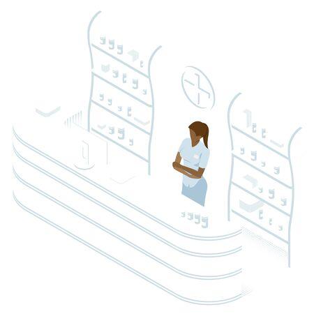 Isometric Pharmacy Store and Doctor pharmacist. Vector